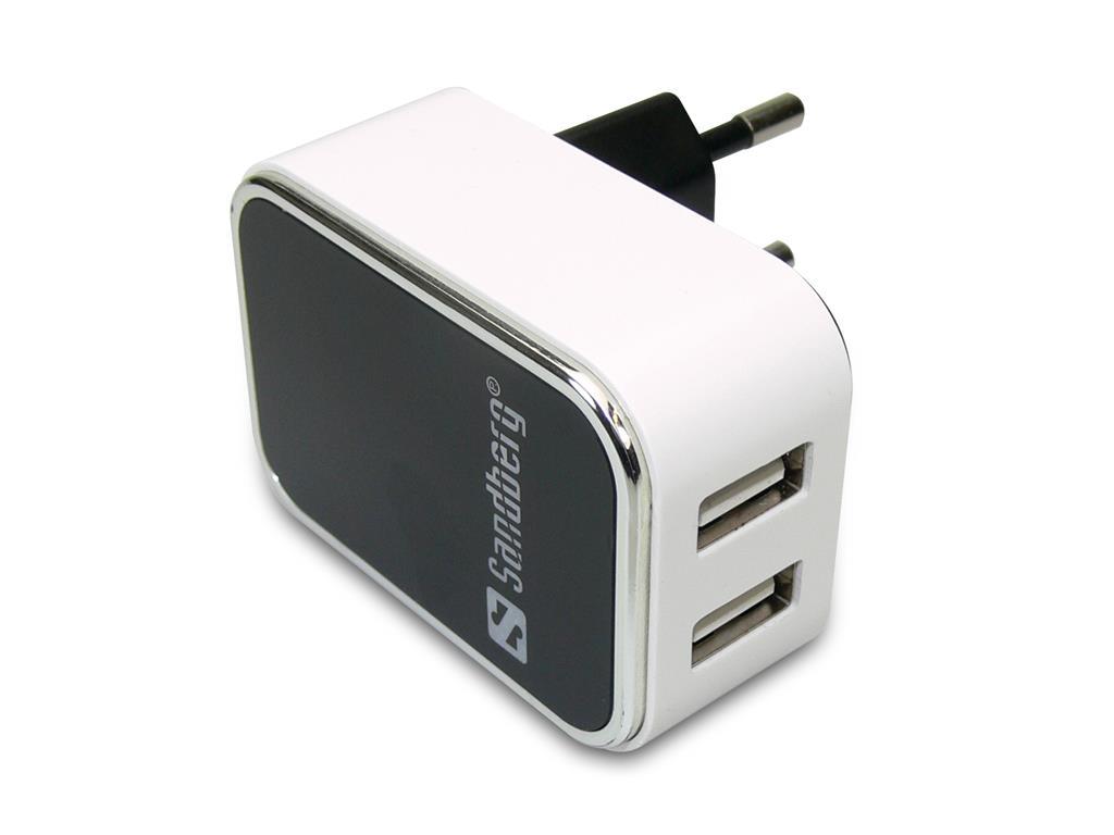 Sandberg USB AC napájecí adaptér, USB 2.4 + 1A EU, duální, bílý