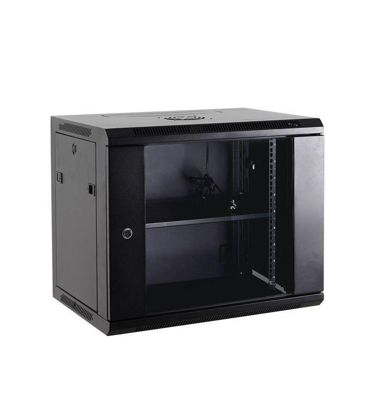 Netrack wall/hanging cabinet 19'',15U/450 mm,glass door,black,remov. side pan.