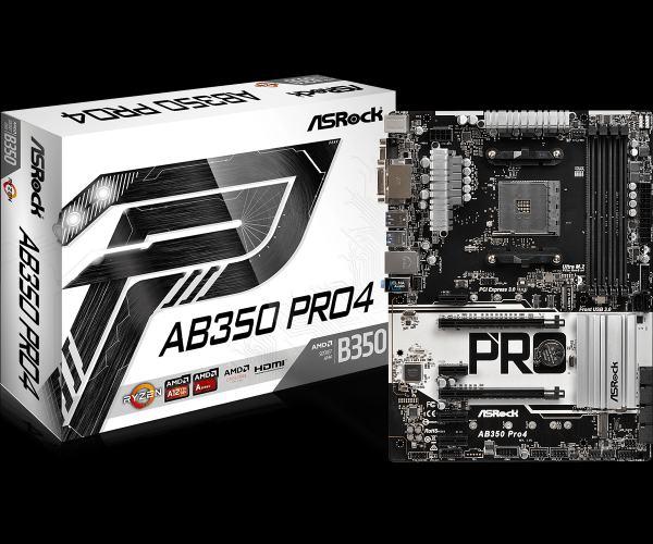ASROCK MB AB350 PRO4 (AM4, amd B350, 4xDDR4, PCIE, 6xSATA3 +M.2, VGA +DVI+HDMI, USB3.0, 7.1, GLAN, ATX)