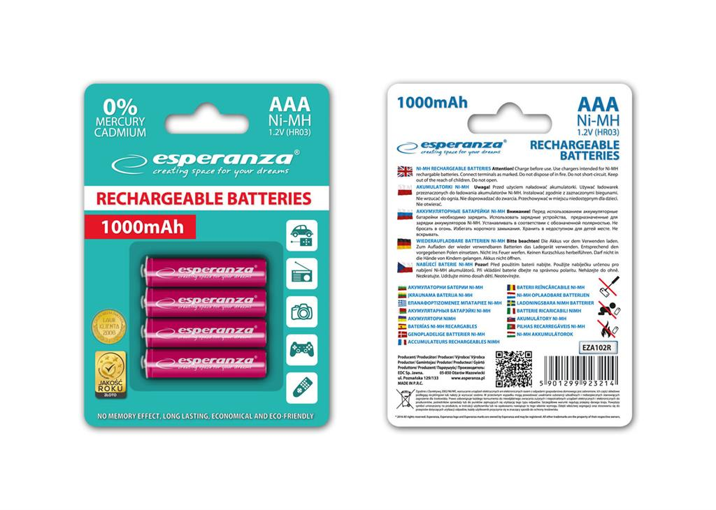 Esperanza EZA102R Nabíjecí baterie Ni-MH R03/AAA 1000mAh, 4 ks, blister
