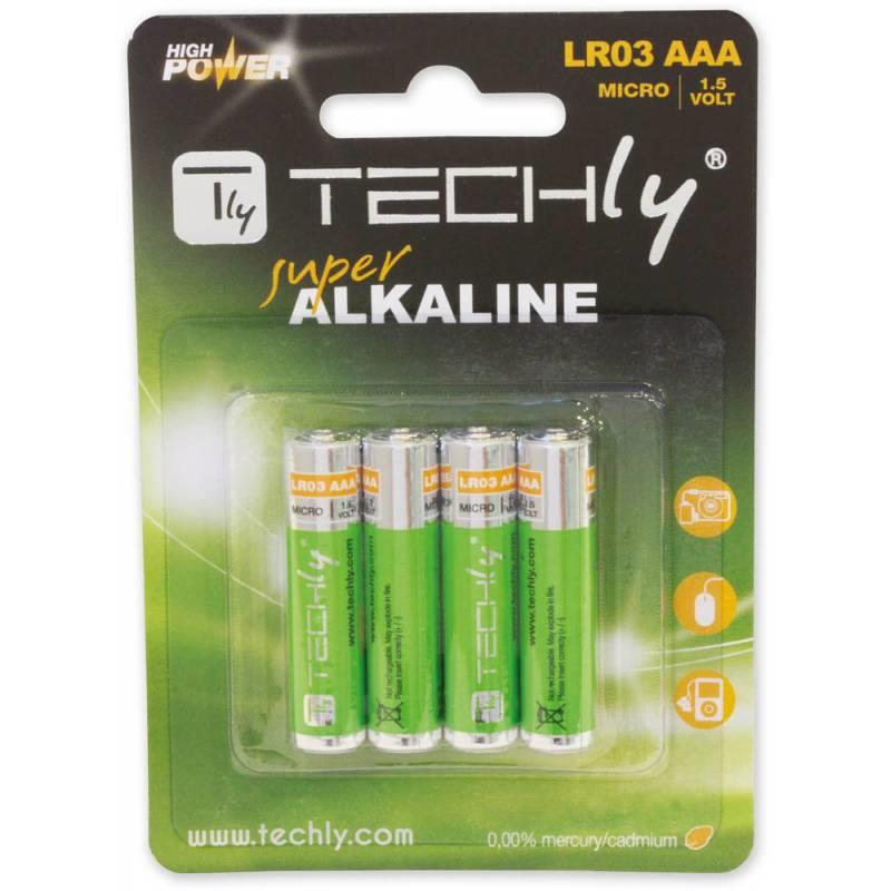 Techly alkalické baterie 1.5V AAA LR03 4 ks