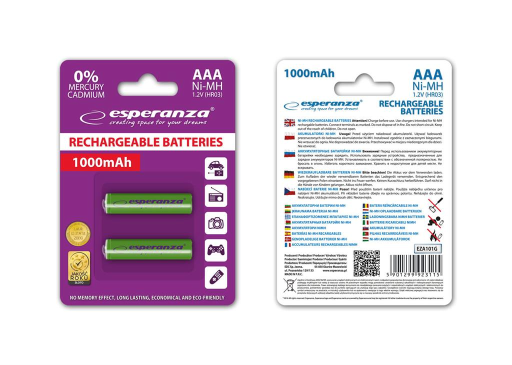 Esperanza EZA101G Nabíjecí baterie Ni-MH R03/AAA 1000mAh, 2 ks, blister