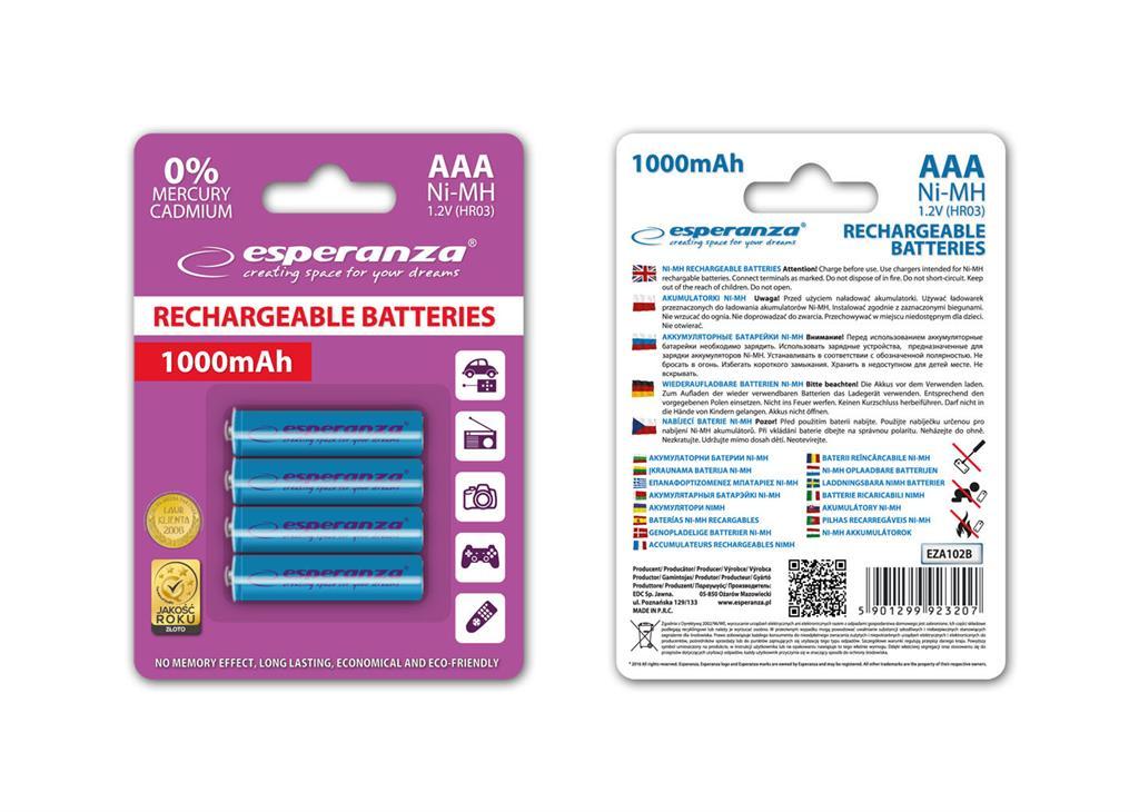 Esperanza EZA102B Nabíjecí baterie Ni-MH R03/AAA 1000mAh, 4 ks, blister