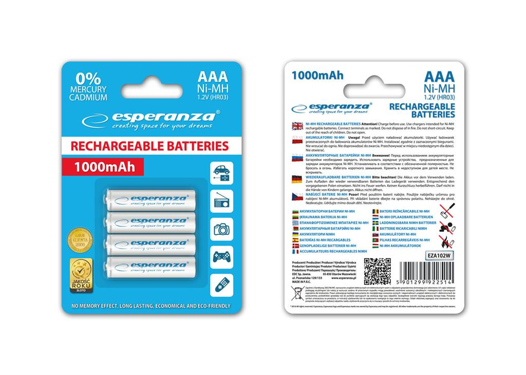 Esperanza EZA102W Nabíjecí baterie Ni-MH R03/AAA 1000mAh, 4 ks, blister