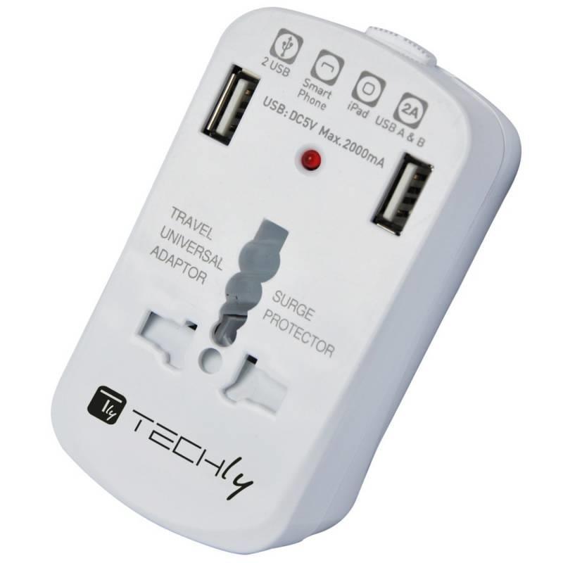 Techly Univerzální napájecí adaptér Evropa USA UK s nabíječkou 2xUSB 5V 2A