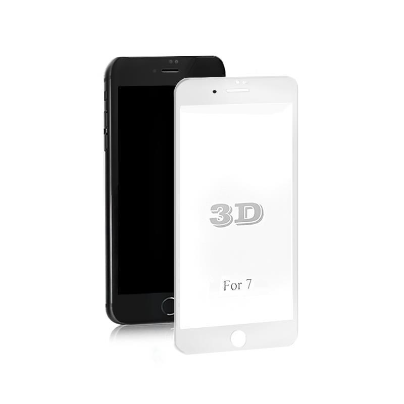 Qoltec tvrzené ochranné sklo premium pro smartphony iPhone 7 | bílá | 3D