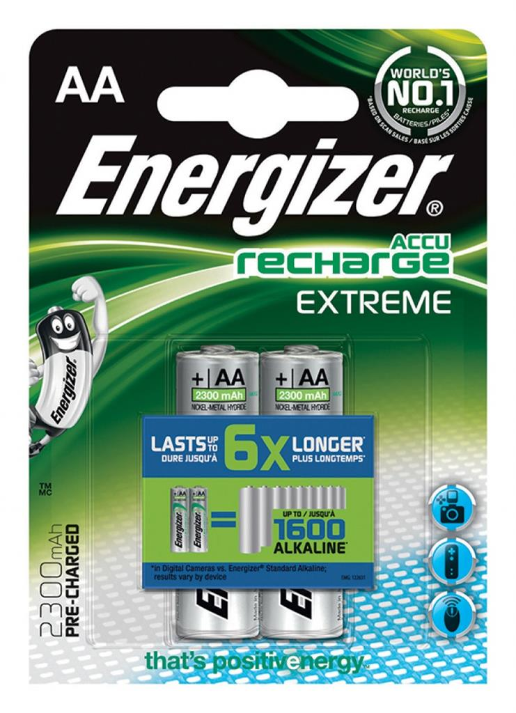Rechargeable battery ENERGIZER Extreme, AA, HR6, 1.2V, 2300mAh, 2 pcs