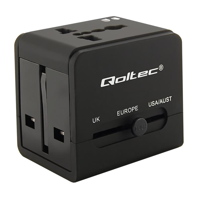 Qoltec Worldwide travel adapter 10.5W   5V   2.1A   2xUSB