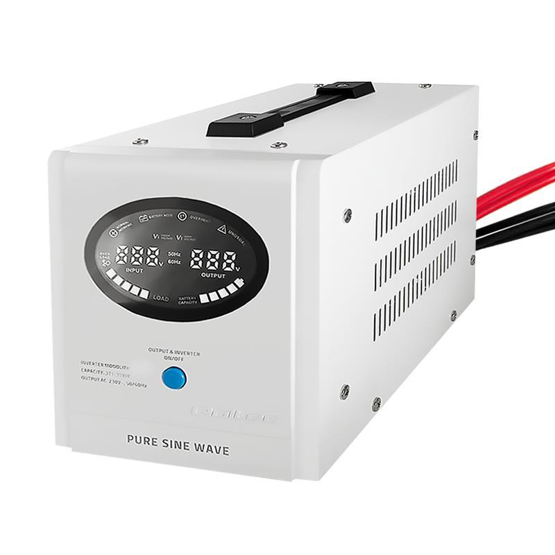 Qoltec Inverter/ Emergency power supply Pure Sine Wave 700W 1000VA LCD white
