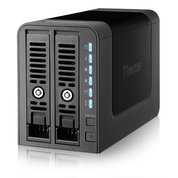 Thecus 2-Bay tower NAS, SATA, 1Ghz, 1GB DDR3, 1x GbE, USB 3.0