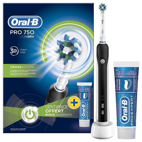 Oral-B Pro 750 zubní kartáček, černý + zubní pasta