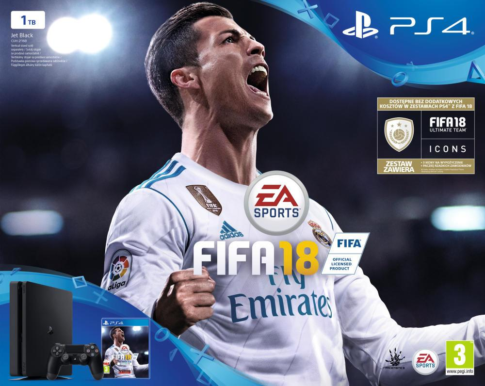 Sony Playstation 4 Slim 1TB + FIFA 18 + Playstation Plus 14 days