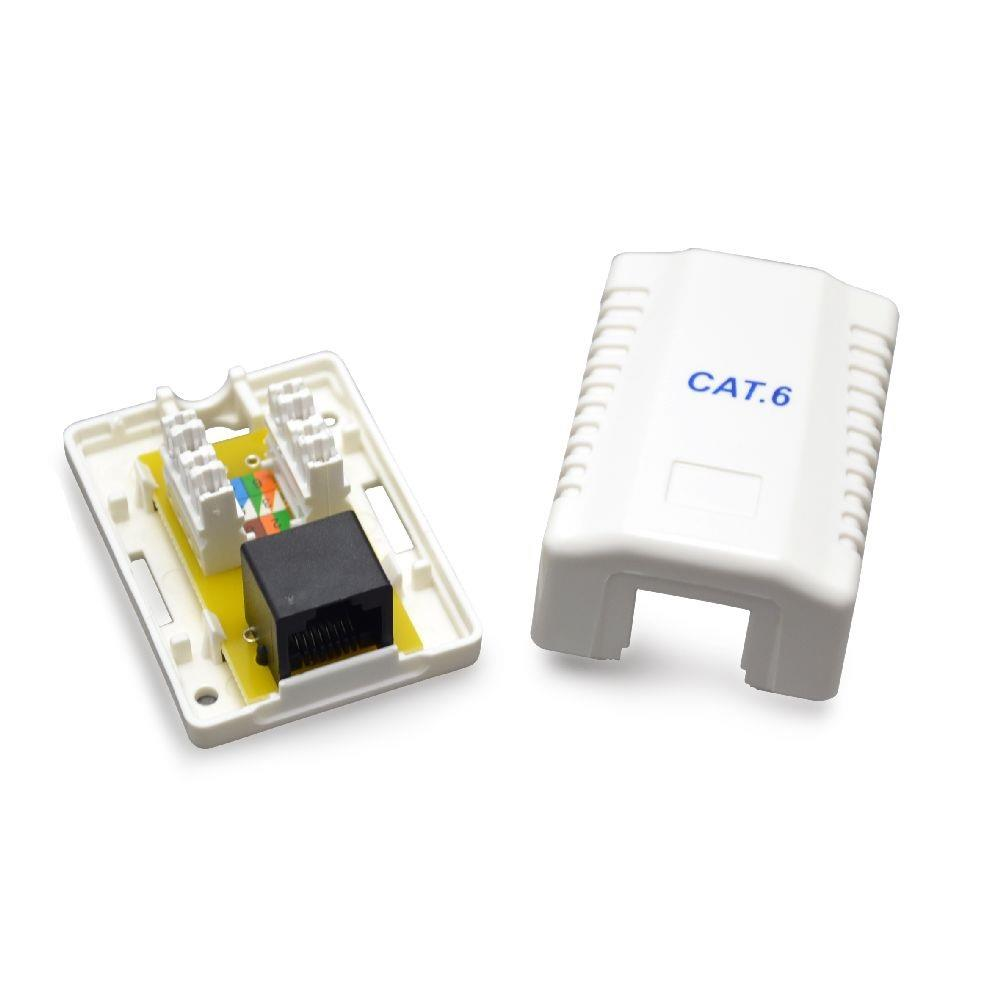 Gembird zásuvka kat. 6 UTP 1xRJ45 na omítku, bílá, stíněná
