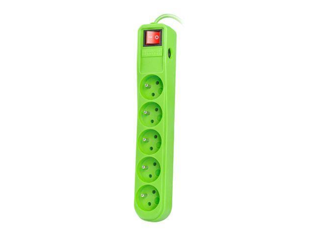 Natec Surge protector 5 sockets (IEC CONNECTOR) 1.5m, green