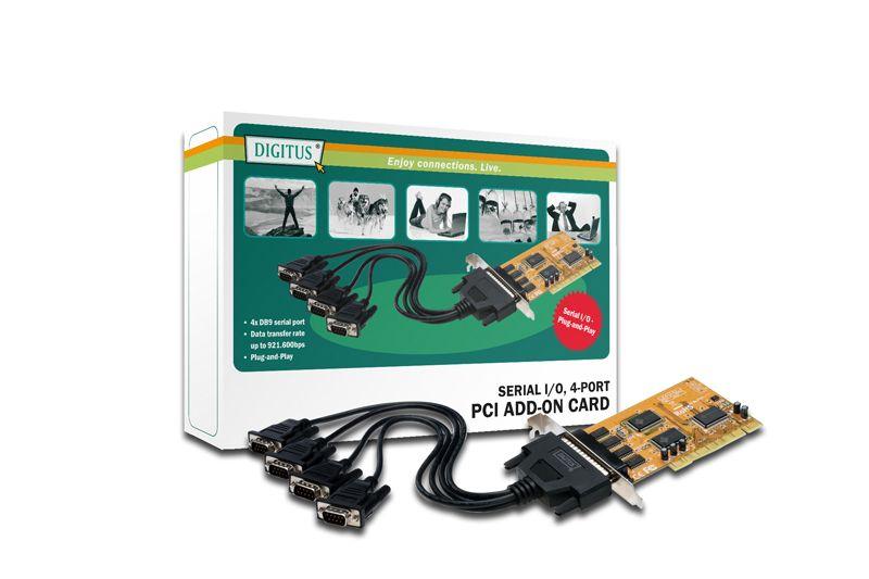 Karta PCI Digitus 32-Bit, 4 sériové porty (COM), 5 LGW Chip: SUN1999