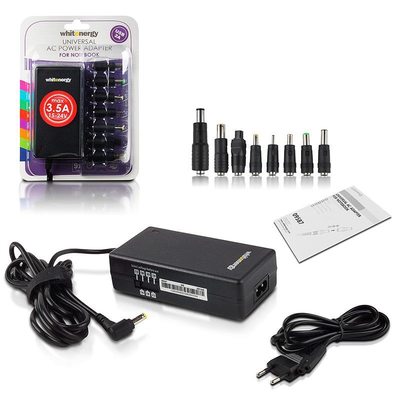 Whitenergy 15-24V, 70W AC univerzální napájecí zdroj pro notebooky, USB