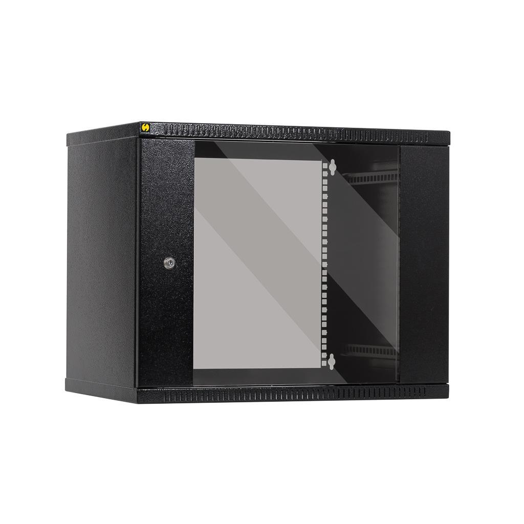 Závěsný datový rozvaděč 19'' Netrack 9U/400mm, skleněné dveře, barva grafit