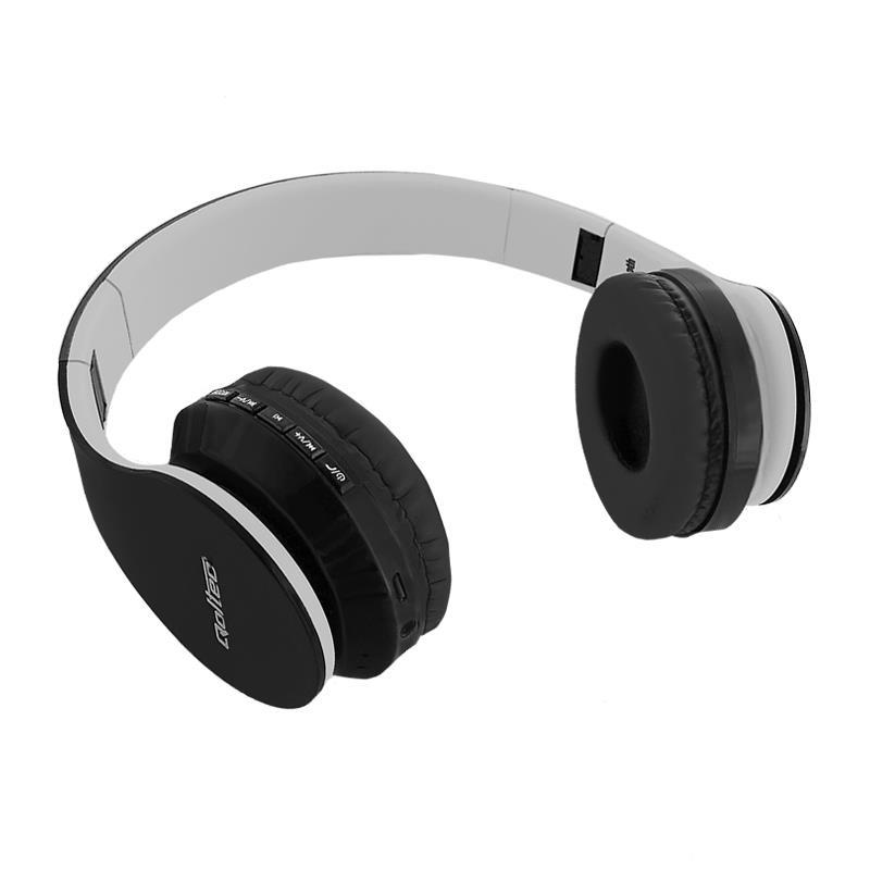 Qoltec BT bezdrátová stereofonní sluchátka + microphone | FM | TF | černá