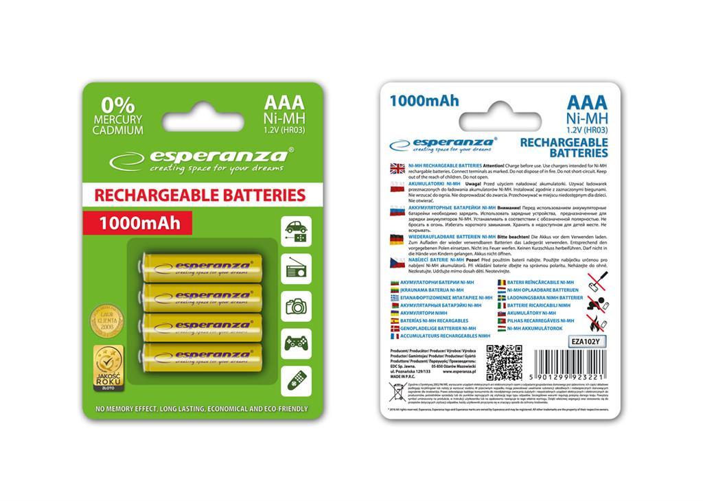 Esperanza EZA102Y Nabíjecí baterie Ni-MH R03/AAA 1000mAh, 4 ks, blister