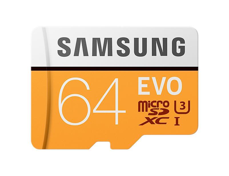 Samsung paměťová karta EVO microSDXC 64GB CL10, čtení/zápis (95/20MB/s)