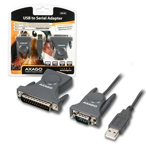 AXAGO USB2.0 - seriový RS-232 DB9 + DB25 adapter