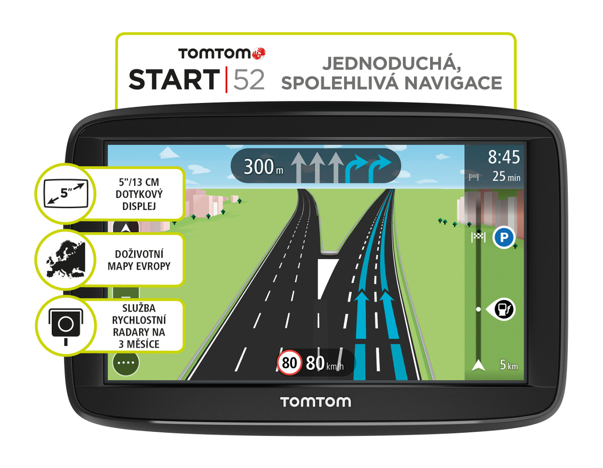 TomTom START 52 Regional CEE, LIFETIME mapy