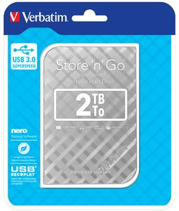 "VERBATIM HDD 2.5"" 2TB Store 'n' Go Portable Hard Drive USB 3.0, Silver GEN II"