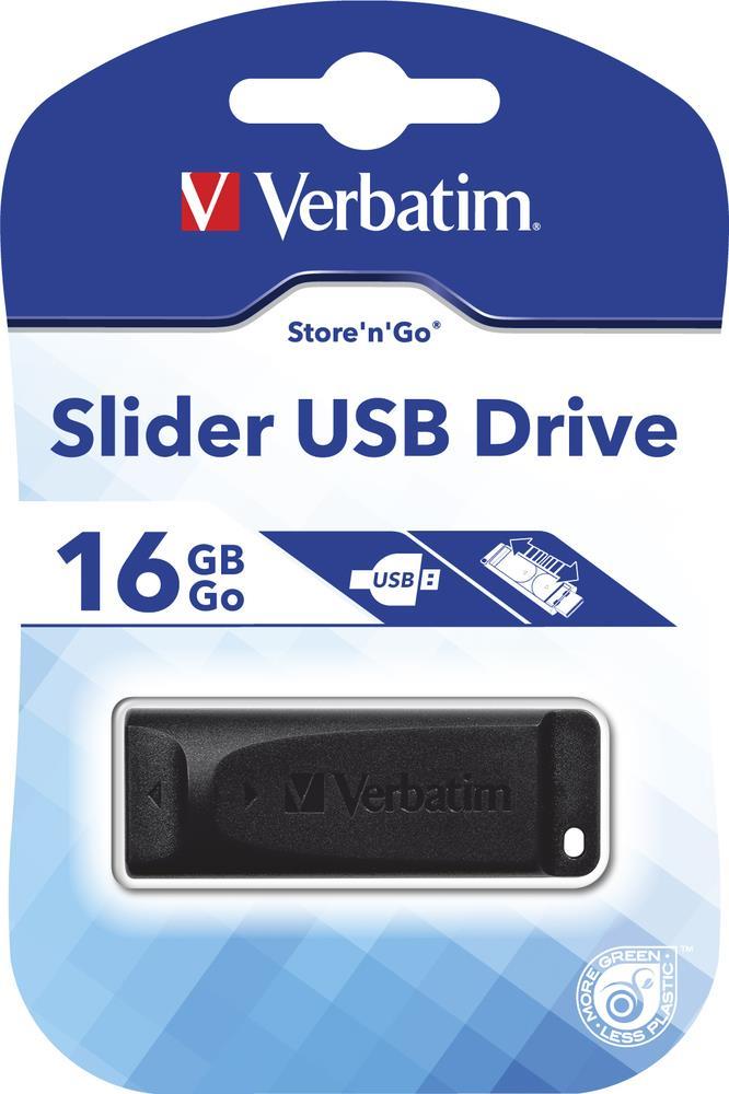 Verbatim Store & Go Slider flashdisk 16GB, čtení 10mb/s, zápis 4MB/s, černý