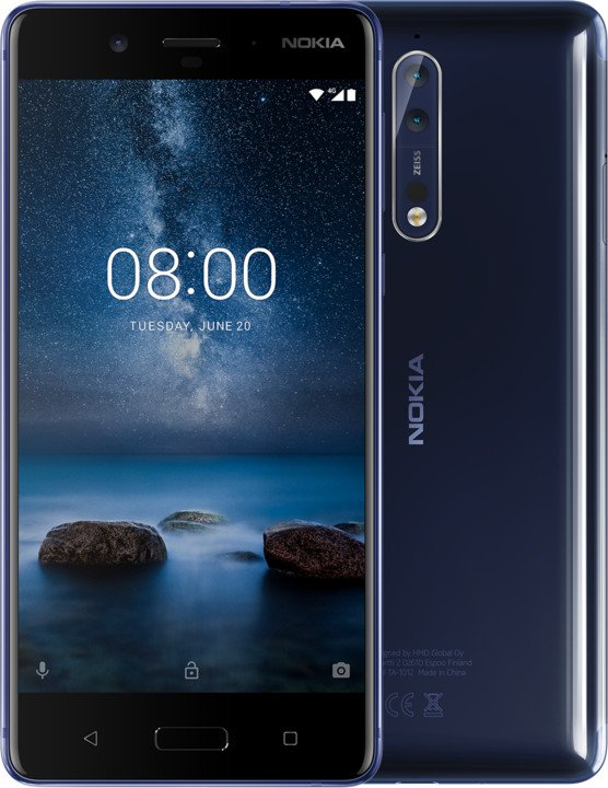 Nokia 8 Tempered Blue Glossy Single SIM