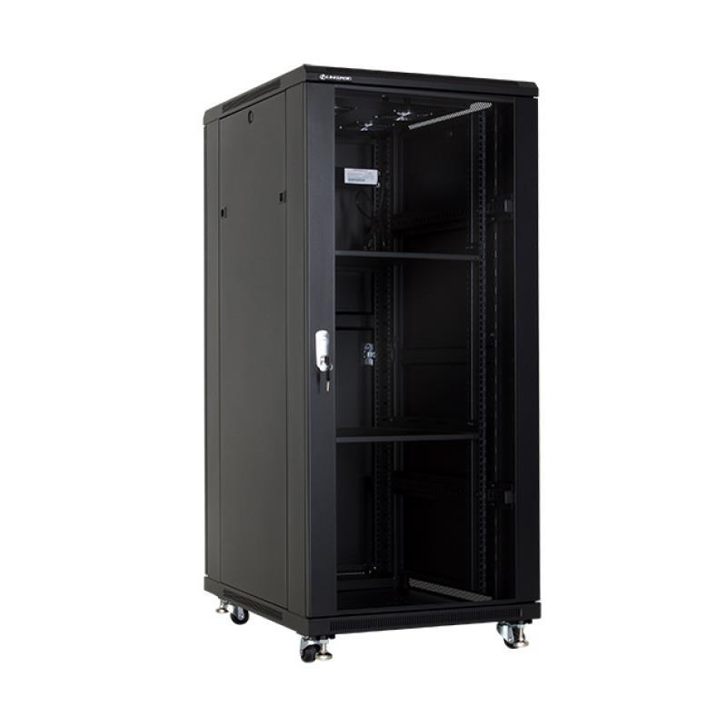 Linkbasic stojící skříně 19'' 27U 600x800mm - černá (prosklené dveře)