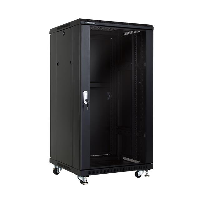 Linkbasic stojící skříně 19'' 22U 600x600mm - černá (prosklené dveře)