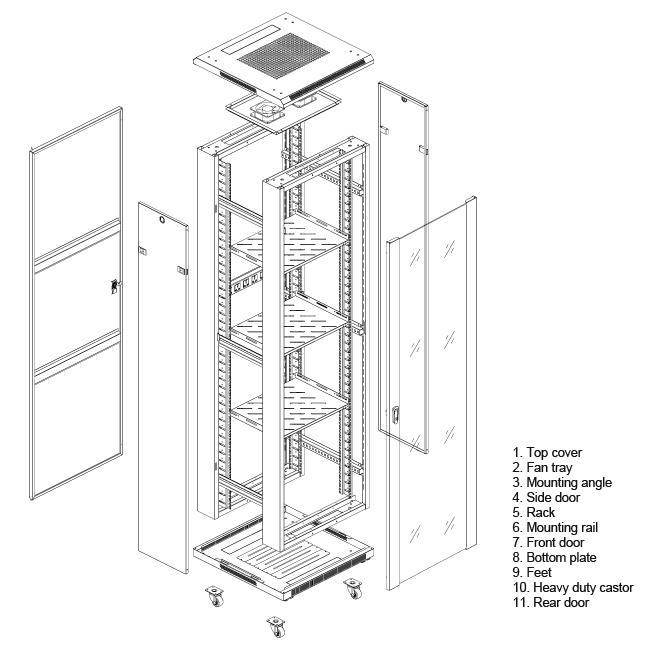 Linkbasic stojící skříně 19'' 27U 600x1000mm - šedá (prosklené dveře)