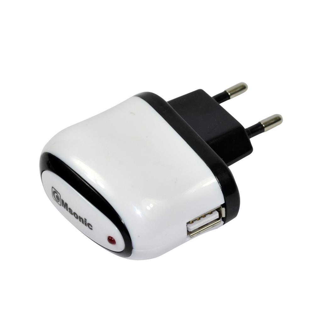 MSONIC USB nabíječka 1x USB, 1A, AC 100~240V MY6644UW bílá