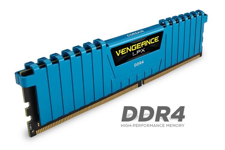Corsair Vengeance LPX 16GB (Kit 4x4GB) 2133MHz DDR4 CL13 DIMM 1.2V, modrý