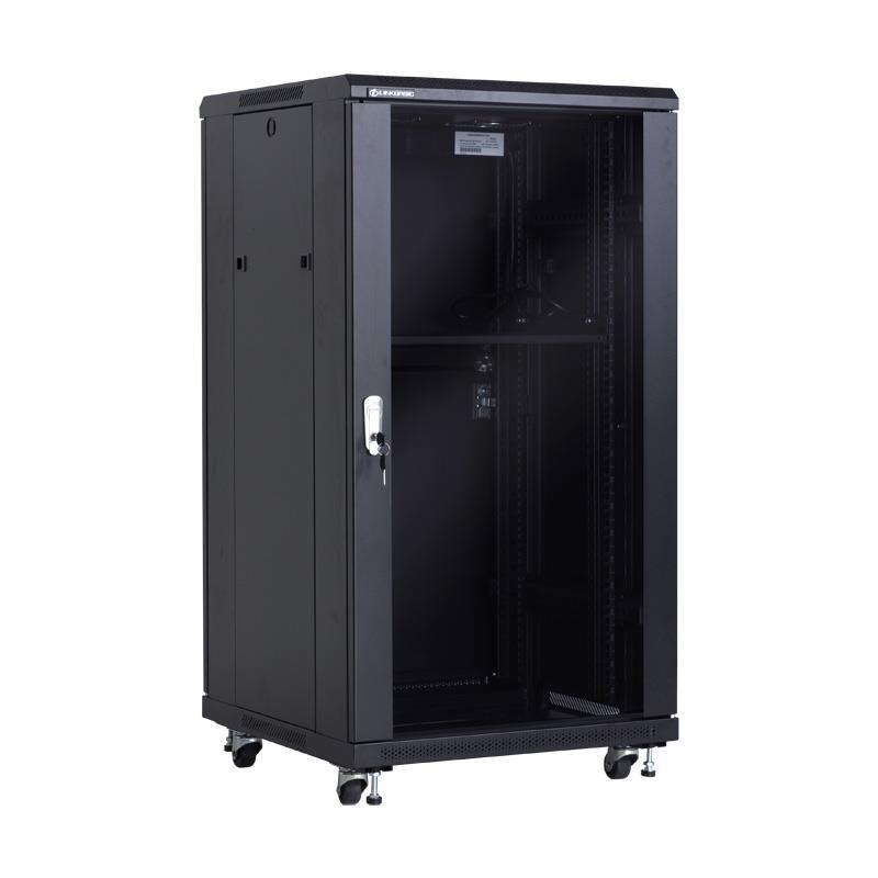 Linkbasic stojící skříně 19'' 18U 600x600mm - černá (prosklené dveře)