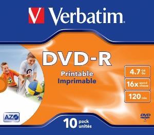 Verbatim DVD-R [ jewel case 10 | 4.7GB | 16x | printable ]