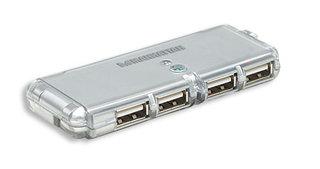 Manhattan kapesní USB 2.0 Hub, 4 porty, stříbrný