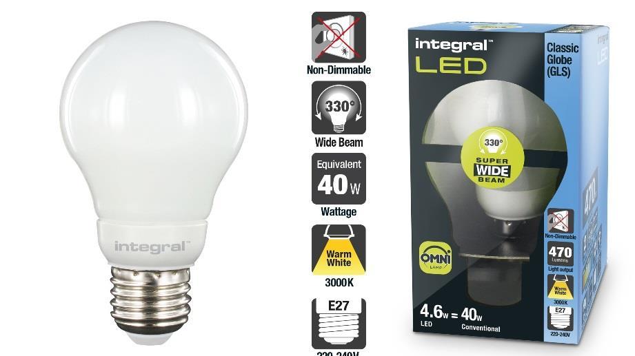 INTEGRAL Omni LED žárovka E27, 4.6W, 3000K, 470lm, A++, teplá bílá