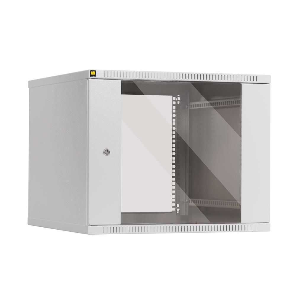 Závěsný datový rozvaděč 19'' Netrack 9U/600 mm, skleněné dveře, barva popelavá