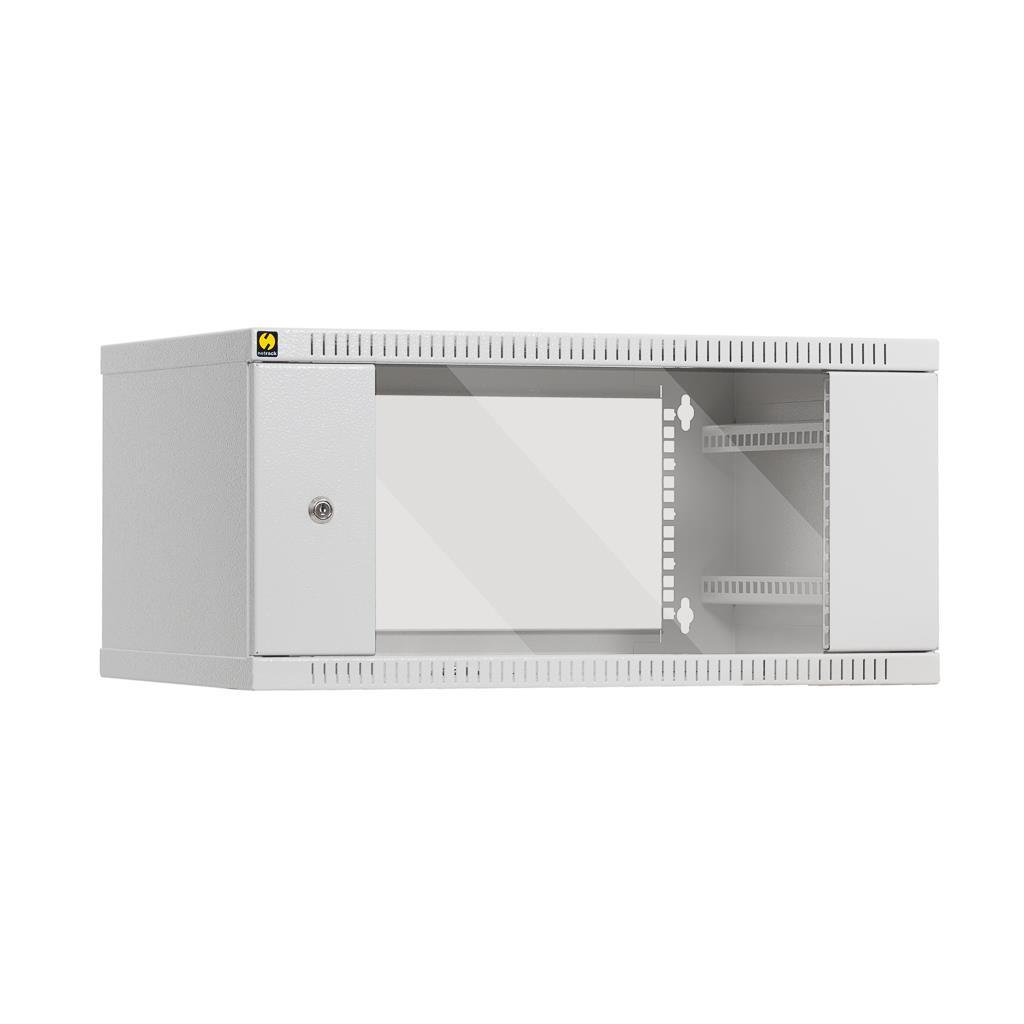 Závěsný datový rozvaděč 19'' Netrack 4.5U/400mm, skleněné dveře, barva šedá