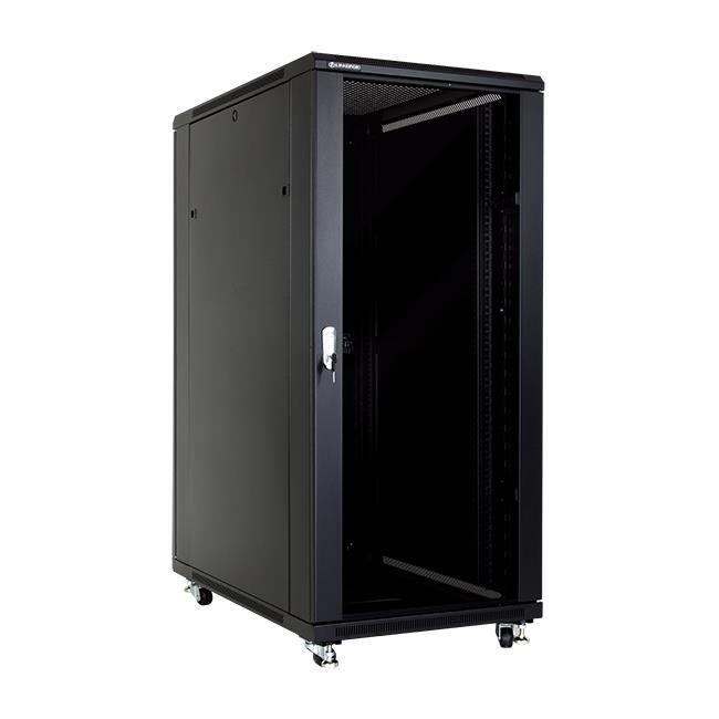 Linkbasic stojící skříně 19'' 27U 600x1000mm - černá (prosklené dveře)
