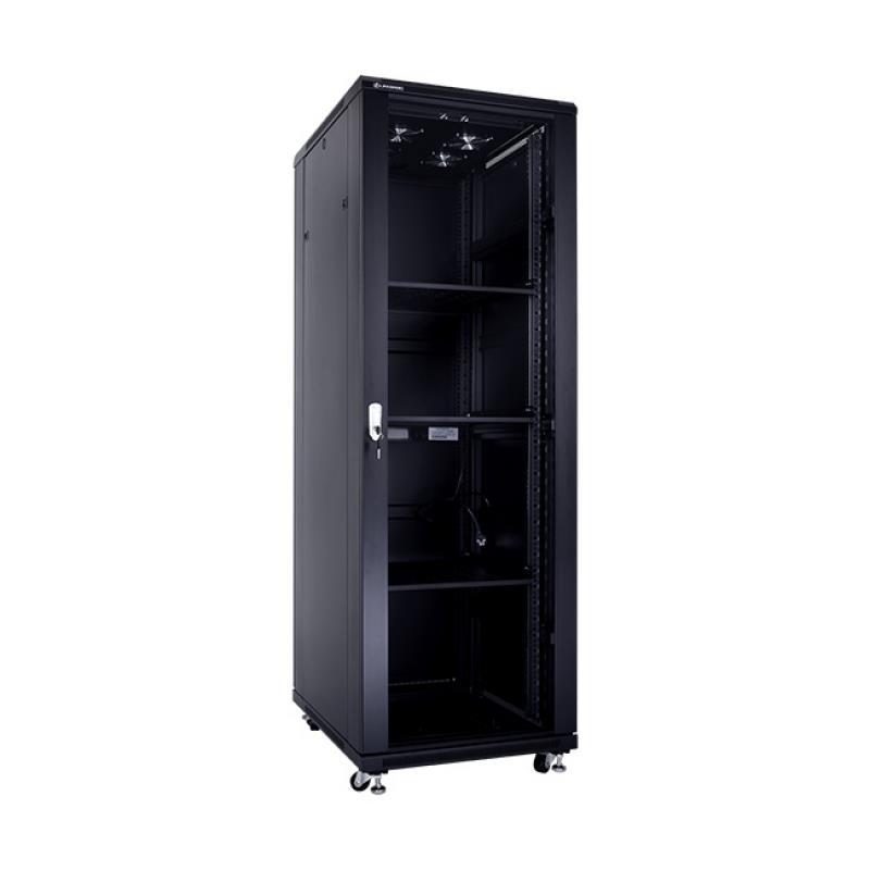 Linkbasic stojící skříně 19'' 37U 600x800mm černá (prosklené dveře)