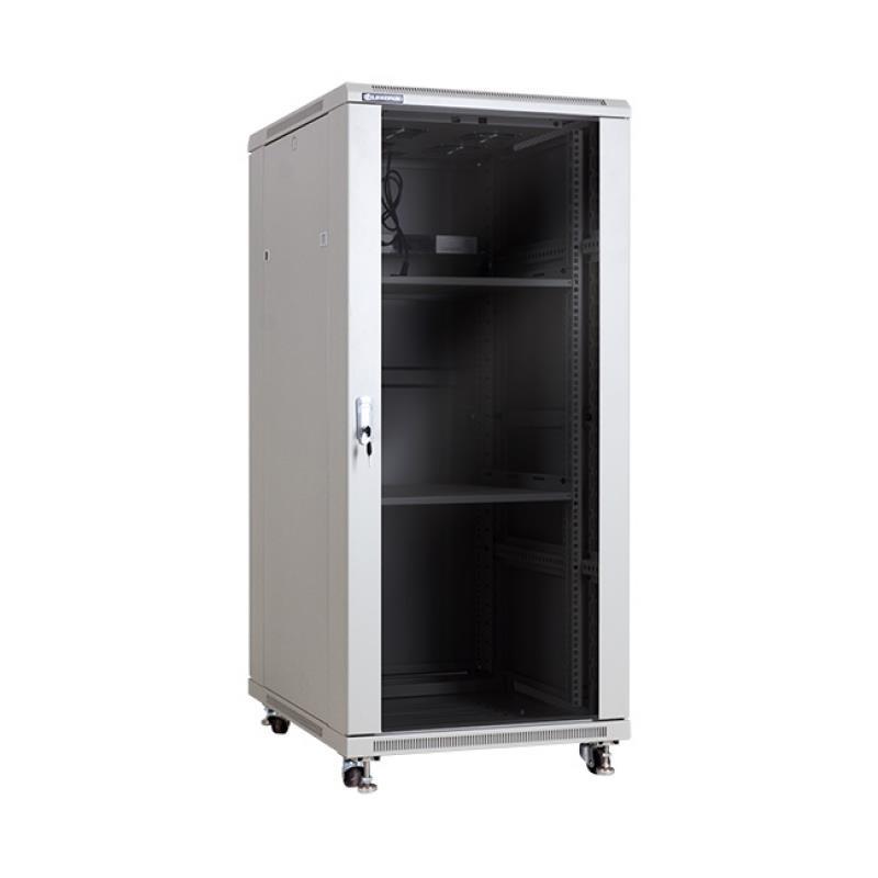 Linkbasic stojící skříně 19'' 27U 600x800mm - šedá (prosklené dveře)