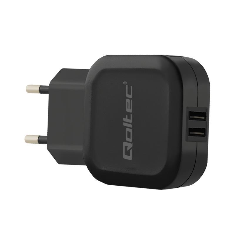 Qoltec AC adapter for Smartphone / Tablet | 12W | 5V | 2.4A | 2xUSB