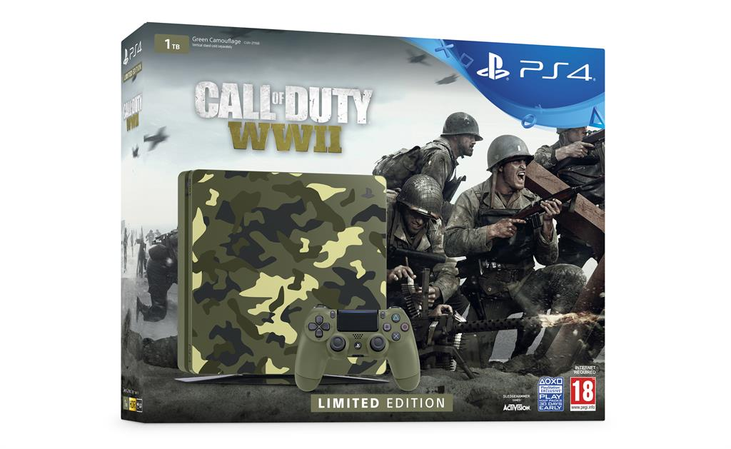 Sony Playstation 4 1TB Slim Green Cammo + Call of Duty WW2 + That's You!
