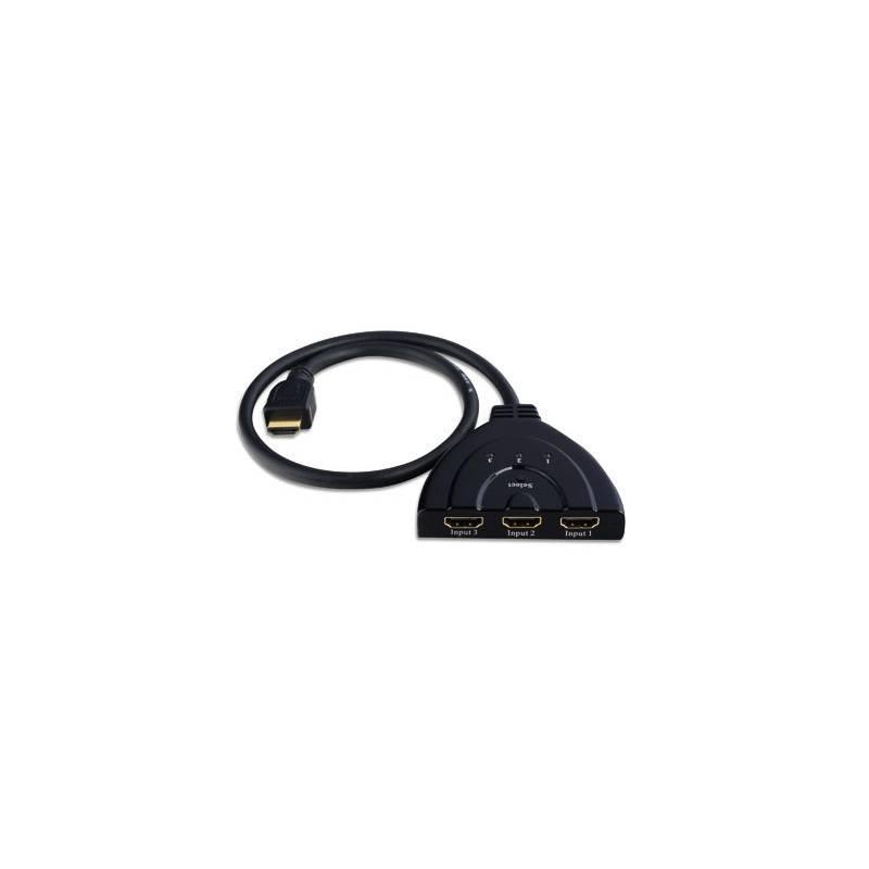 Techly HDMI switch 3/1, 3x vstup, 1x výstup, černý, Full HD 3D