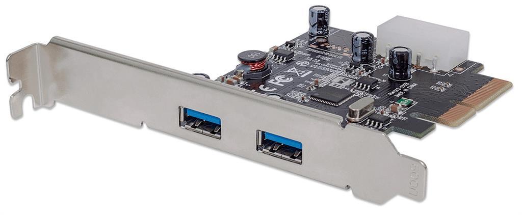 MANHATTAN USB 3.1 PCI Express Card, Two external SuperSpeed+ USB 3.1 ports, 2 type-A
