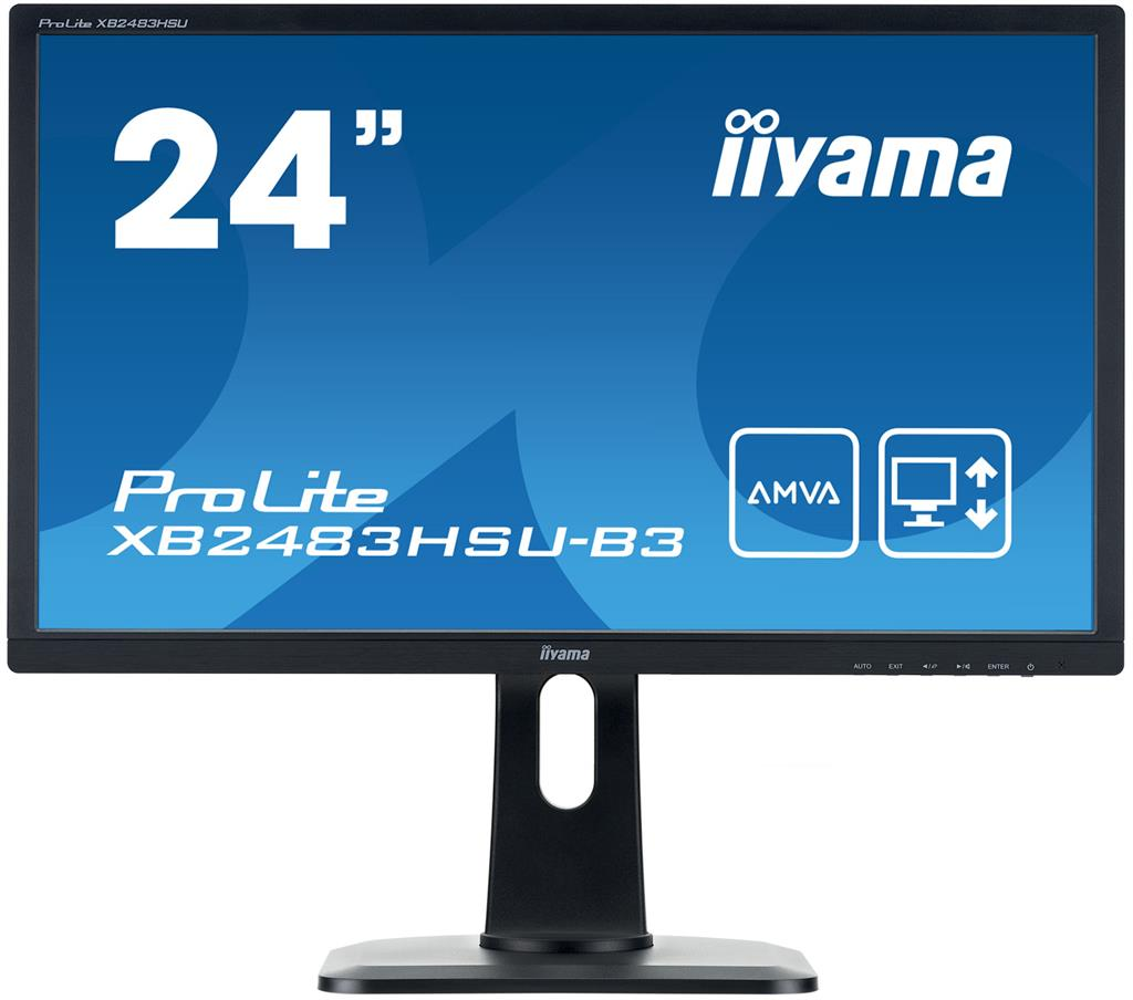 Iiyama LCD XB2483HSU 23,8''LED,AMVA,4ms,VGA/DVI/HDMI,repro,1920x1080,HAS,pivot,č