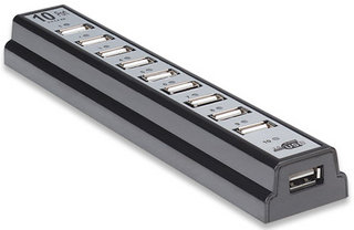 Manhattan USB 2.0 Hub, 10 portů + napájecí adaptér, černý