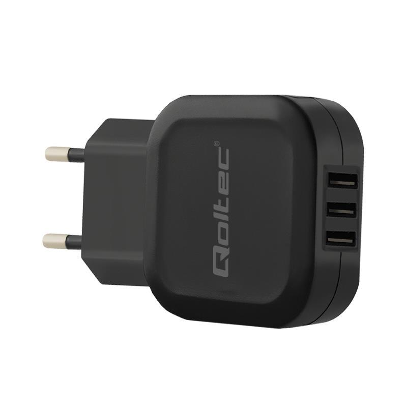 Qoltec AC adapter for Smartphone / Tablet | 17W | 5V | 3.4A | 3xUSB
